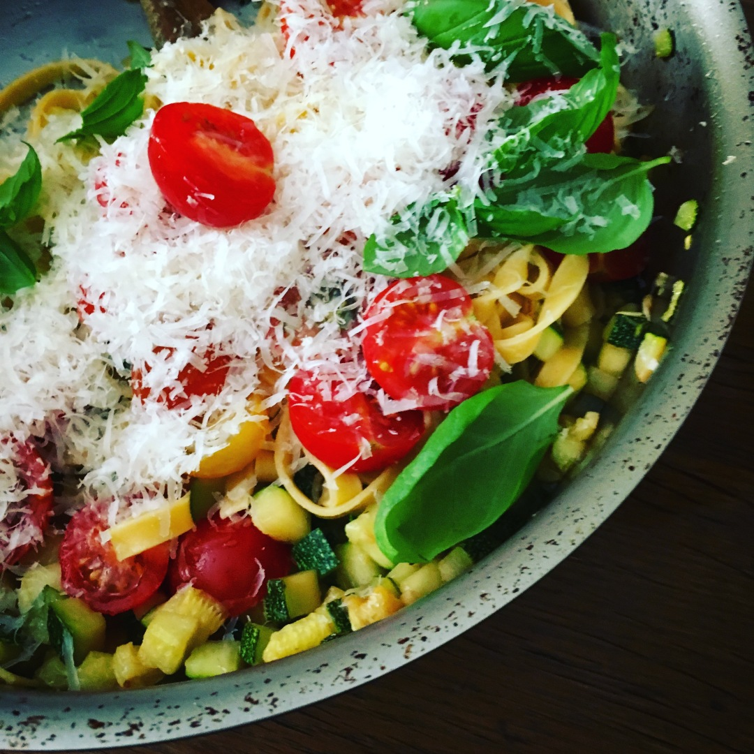 Fresh pasta with summer vegetables in pot