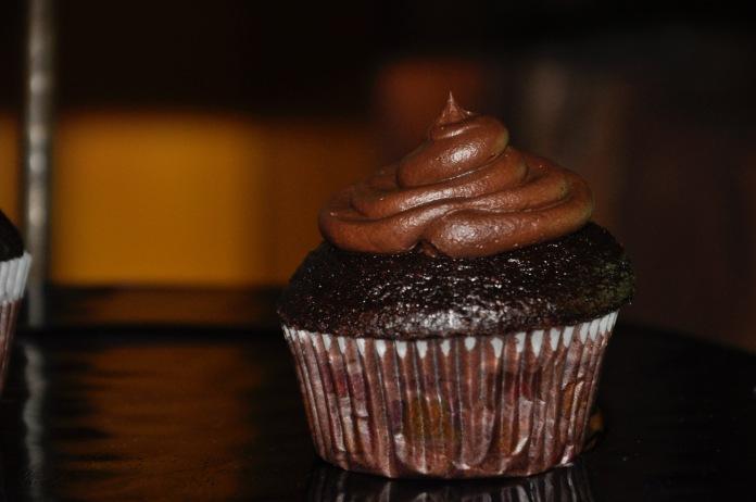chocolate cupcake with buttercream swirl