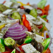 feta tomato salad with cucumber and olives