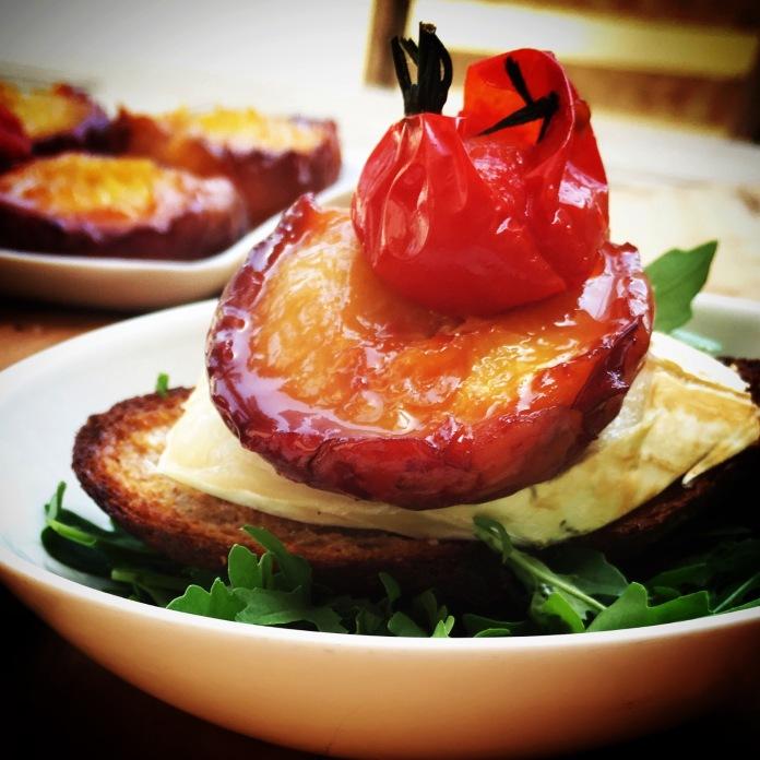 Peach tomato chevre peach salad