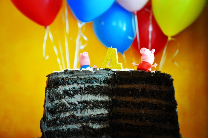 six layer chocolate ganache birthday cake