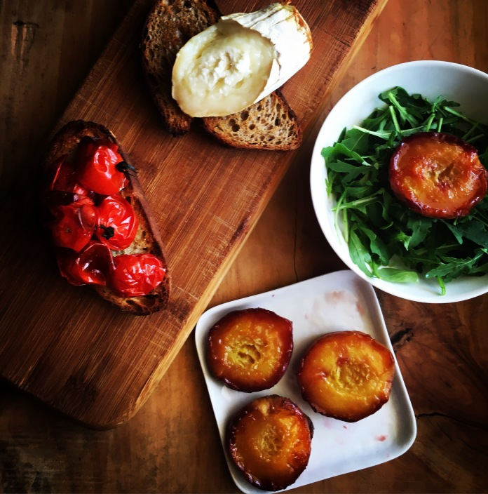 Tomatoes, baguette, hot goat cheese