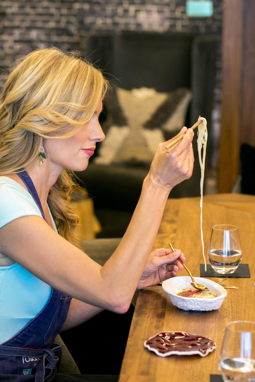 lidija eating noodles