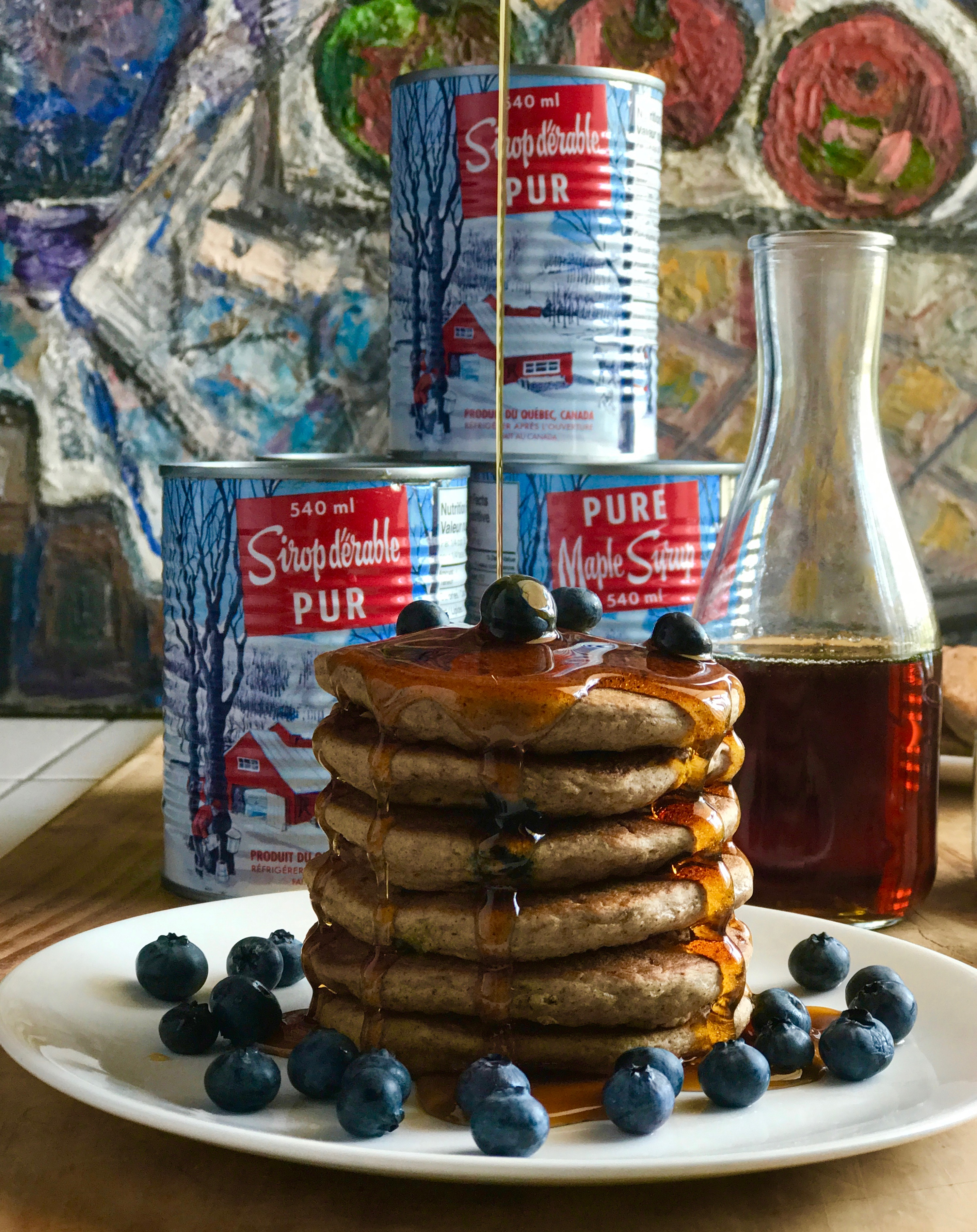 quebec maple syrup on plueberry pancakes