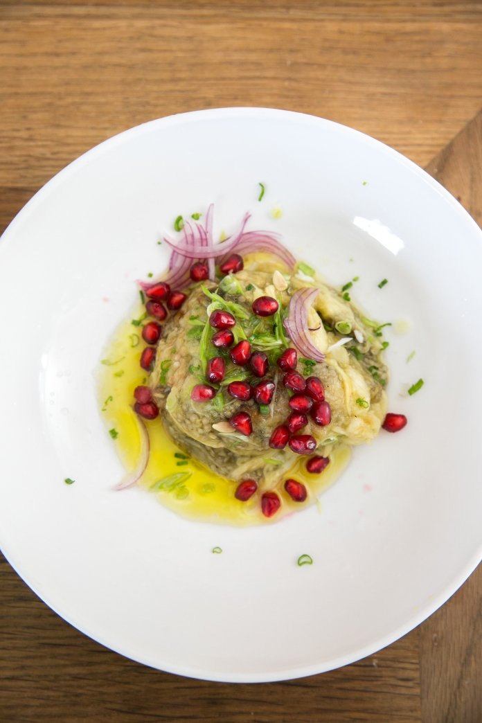 aubergine eggplant salad with onion & pomegranate seeds