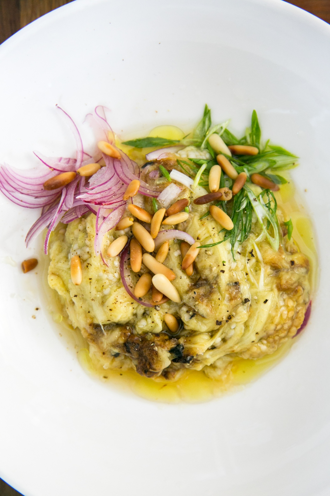 Eggplant with herbs and pine nuts