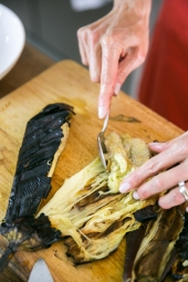 scraping aubergine from the inside