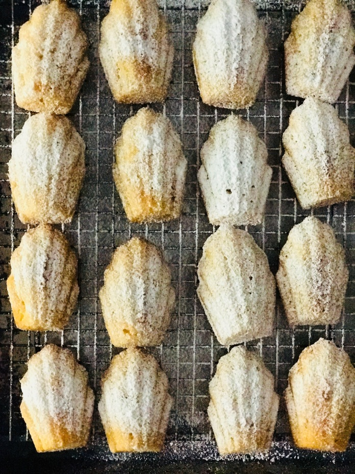 madeleines on a cooling rack dusted with sugar.jpg